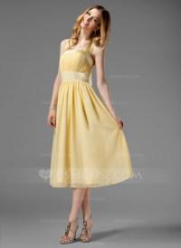 A-Line/Princess Halter Tea-Length Chiffon Bridesmaid Dress ...