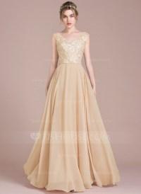 A-Line/Princess V-neck Floor-Length Chiffon Lace Prom ...