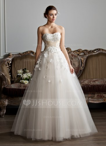 Ball Gown Sweetheart Floor Length Tulle Wedding Dress With Ruffle Sash Beading Appliques Lace Flower S g wedding gowns Home Wedding Dresses Loading zoom