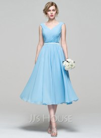A-Line/Princess V-neck Tea-Length Chiffon Bridesmaid Dress ...