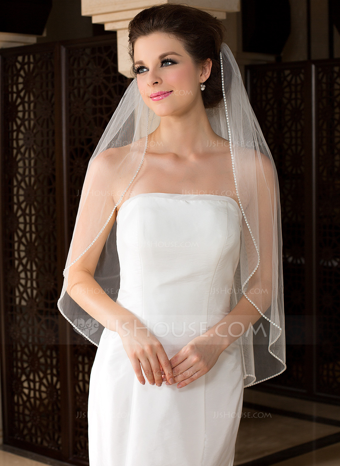 One Tier Fingertip Bridal Veils With Beaded Edge g wedding veils Wedding Veils Loading zoom