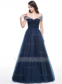 Ball-Gown Off-the-Shoulder Floor-Length Tulle Evening ...