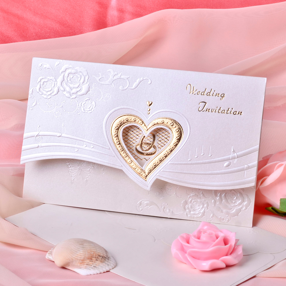 Einladung Falten Heart Style Tri Fold Invitation Cards Set Of 50