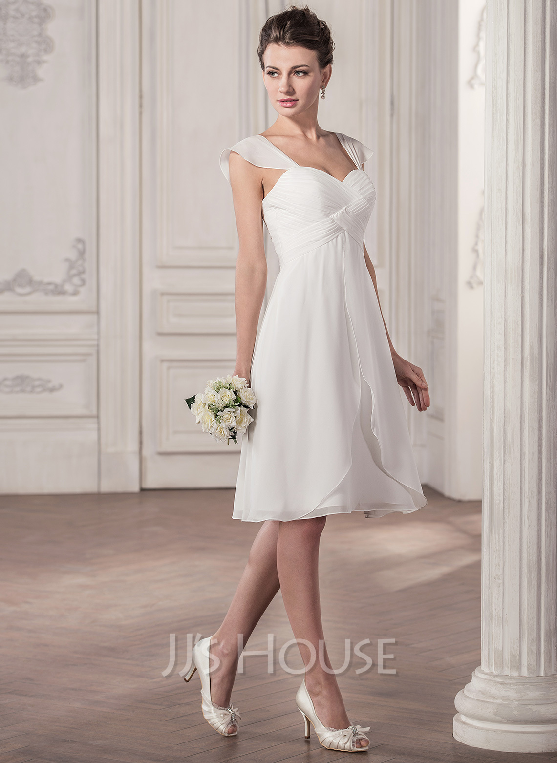 Knie Lange Kleider A Line Princess Sweetheart Knee Length Chiffon Wedding