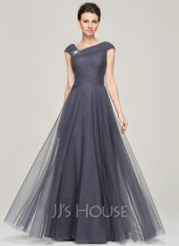 A-Line/Princess V-neck Floor-Length Tulle Mother of the ...