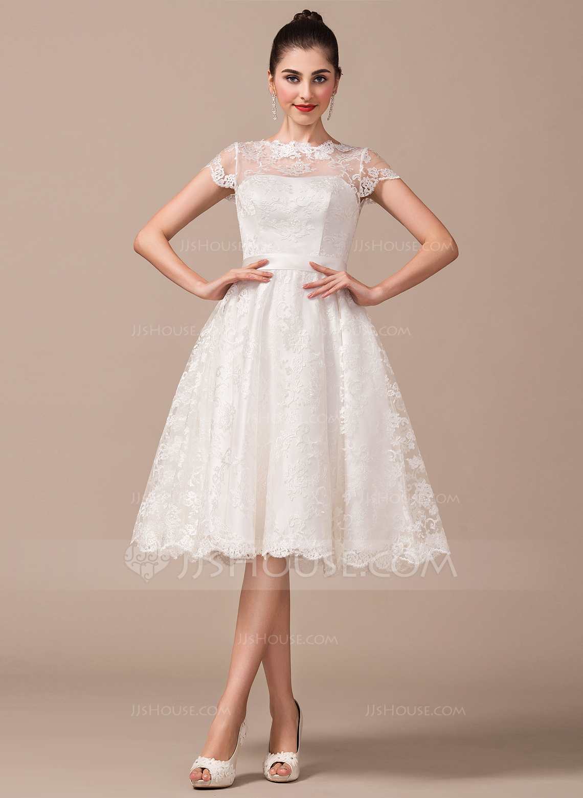 Outfit Trauzeugin Standesamt A Line Princess Scoop Neck Knee Length Lace Wedding Dress