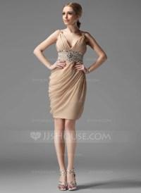 Sheath/Column V-neck Knee-Length Chiffon Cocktail Dress ...