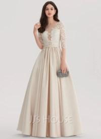 Ball-Gown Scoop Neck Floor-Length Satin Evening Dress ...