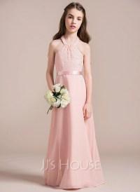 A-Line/Princess Halter Floor-Length Chiffon Lace Junior ...