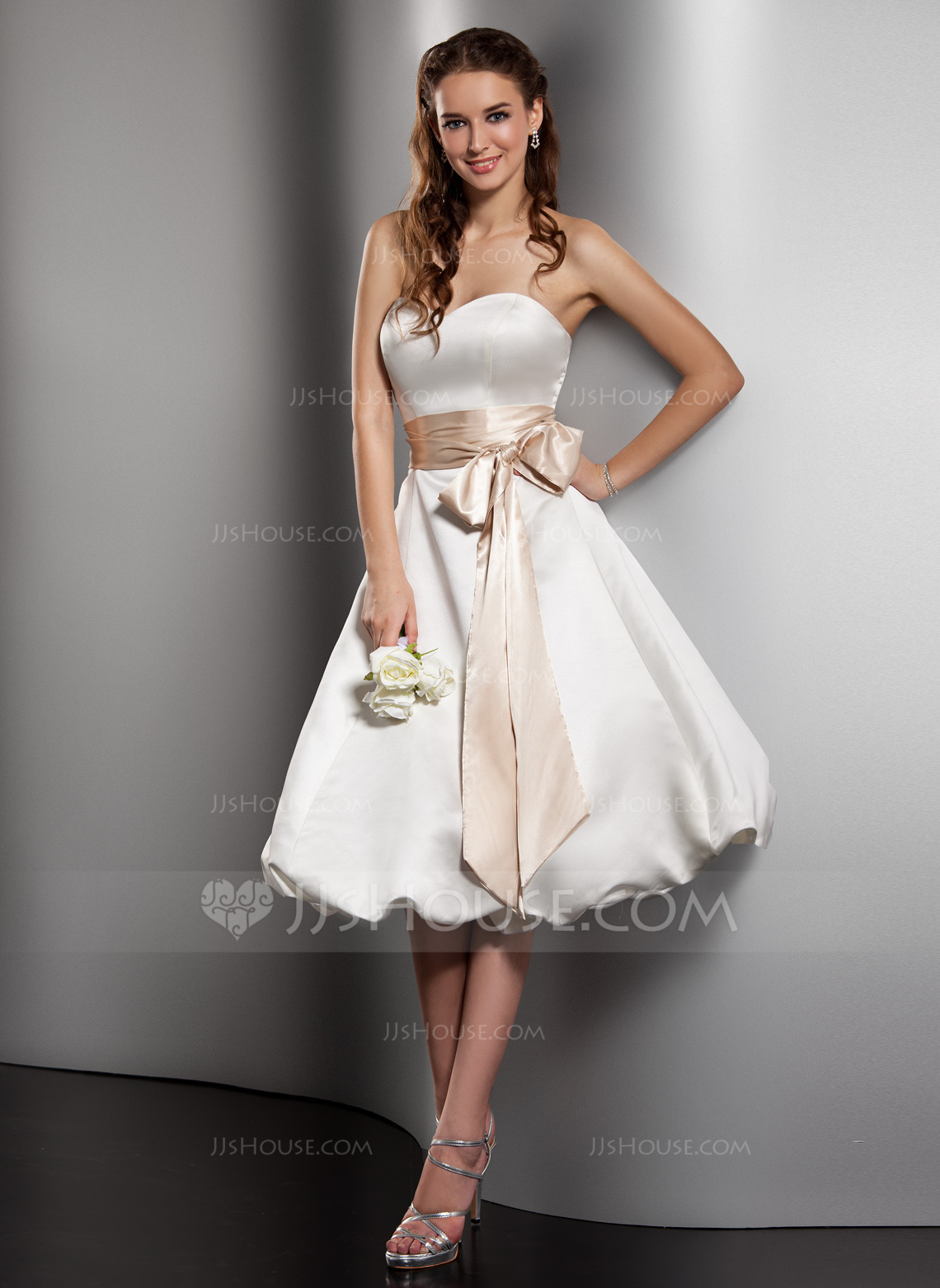 Wedding Dresses In Color p wedding dresses with color A Line Princess Sweetheart Knee Length Satin Wedding Dress With Sash Bow