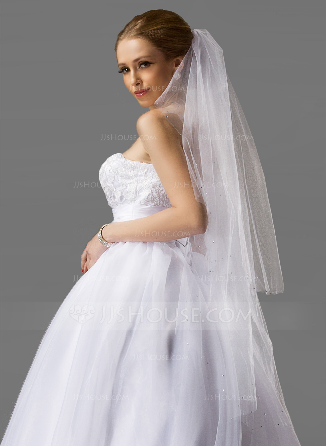 Two Tier Fingertip Bridal Veils With Cut Edge g wedding veils Wedding Veils Loading zoom