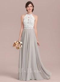 A-Line/Princess Scoop Neck Floor-Length Chiffon Lace ...