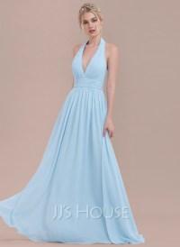 A-Line/Princess Halter Floor-Length Chiffon Bridesmaid ...