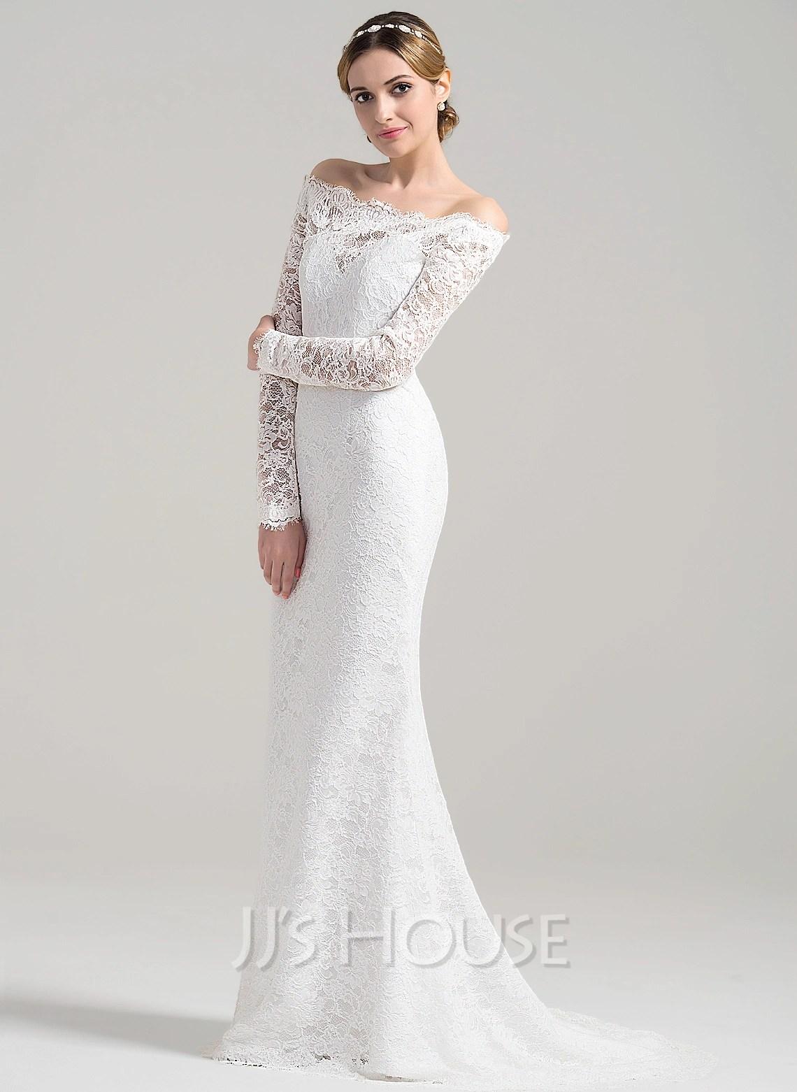 Beach p cheapest wedding dresses Sheath Column Off the Shoulder Sweep Train Lace Wedding Dress