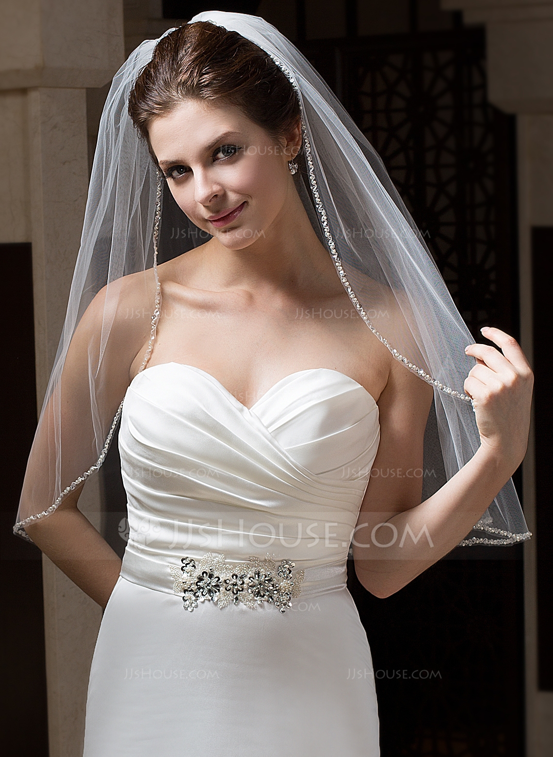 One Tier Elbow Bridal Veils With Pencil Edge g wedding veils Wedding Veils Loading zoom