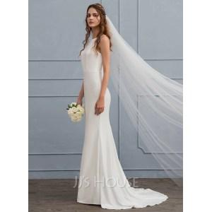Voguish Detachable Trains Mermaid Wedding Dresses Amazon Scoop Neck Sweep Train Jersey Wedding Dress Wedding Under Mermaid Wedding Dresses