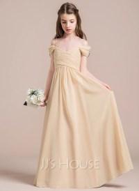 A-Line/Princess Off-the-Shoulder Floor-Length Chiffon ...