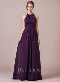 Chiffon Halter-neck Floor-length Bridesmaid Dress With ...