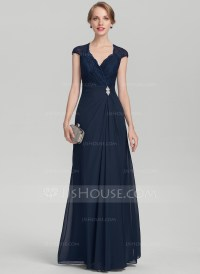 A-Line/Princess V-neck Floor-Length Chiffon Lace Mother of ...