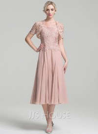 A-Line/Princess Square Neckline Tea-Length Chiffon Mother ...