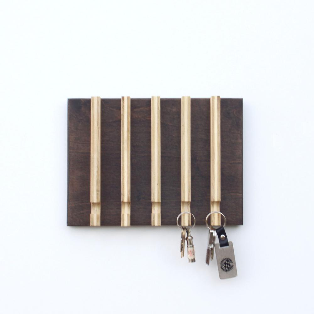 Linear Modern Key Rack 5 Hooks Wood Butcher Designs