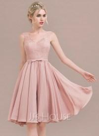 A-Line/Princess V-neck Knee-Length Chiffon Lace Bridesmaid ...