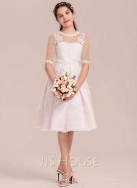 A-Line/Princess Scoop Neck Knee-Length Tulle Junior ...