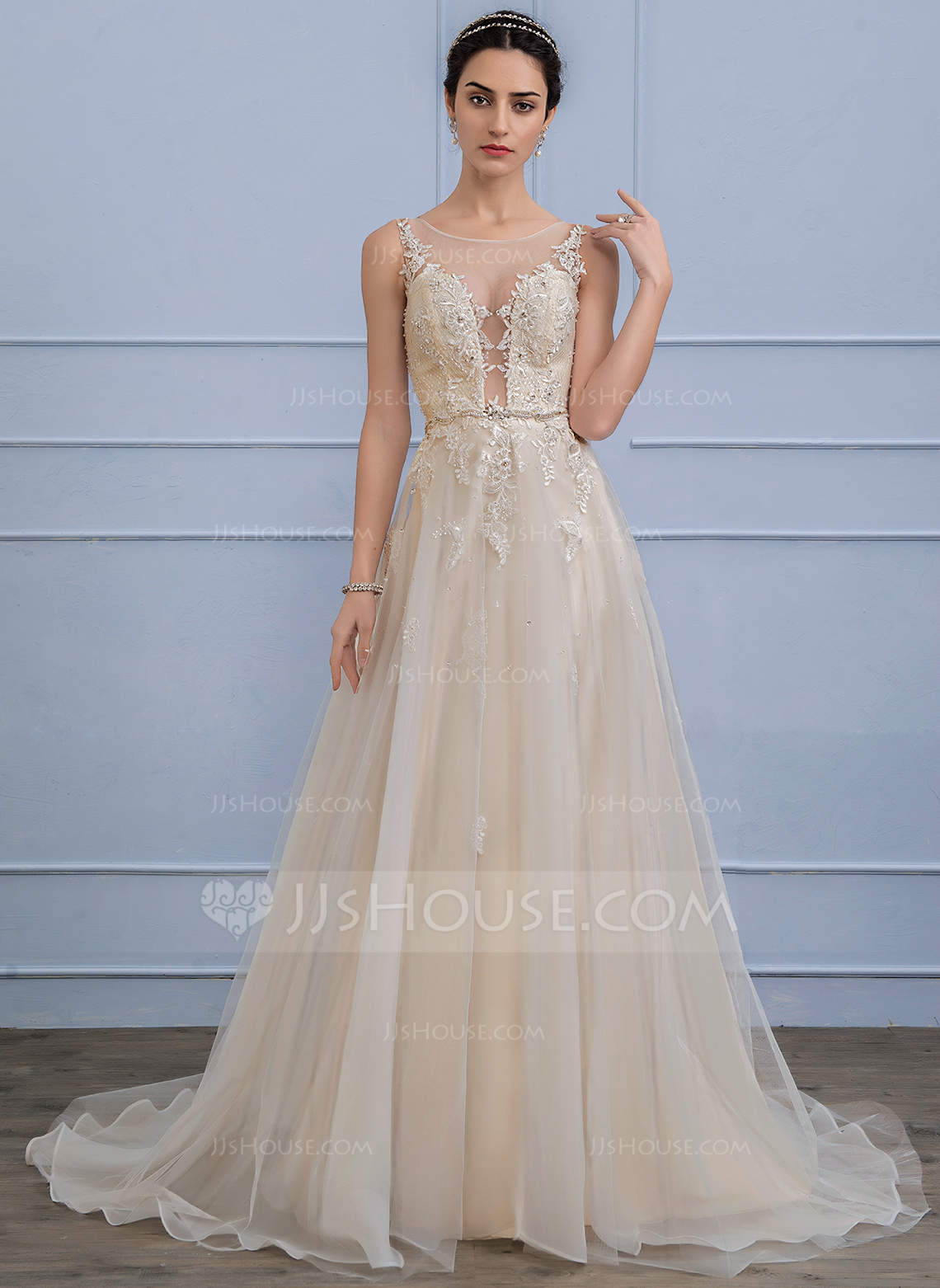 Wedding Dresses In Color p wedding dresses with color A Line Princess Scoop Neck Sweep Train Tulle Lace Wedding Dress With Beading Sequins