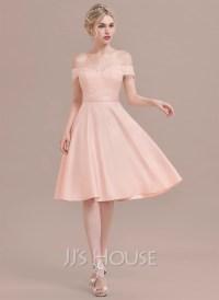A-Line/Princess Off-the-Shoulder Knee-Length Satin Lace ...
