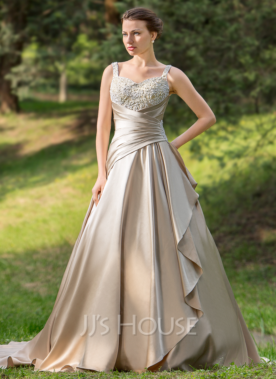 Ball Gown Sweetheart Court Train Satin Wedding Dress With Ruffle Beading Appliques Lace Cascading Ruffles g wedding dresses in color Home Wedding Dresses Loading zoom