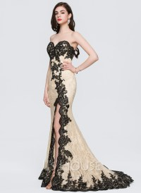 Trumpet/Mermaid Sweetheart Sweep Train Lace Prom Dresses ...