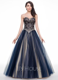 Ball-Gown Sweetheart Floor-Length Tulle Lace Prom Dress ...
