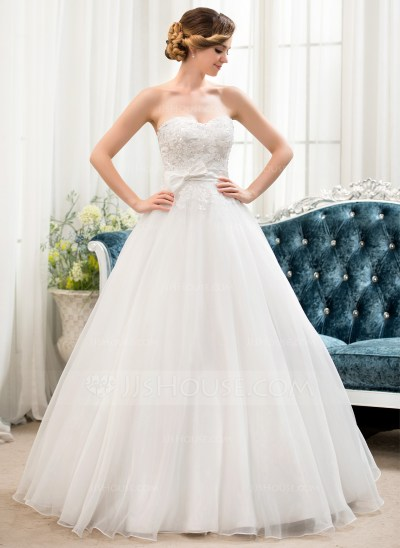 Ball-Gown Sweetheart Floor-Length Organza Lace Wedding ...