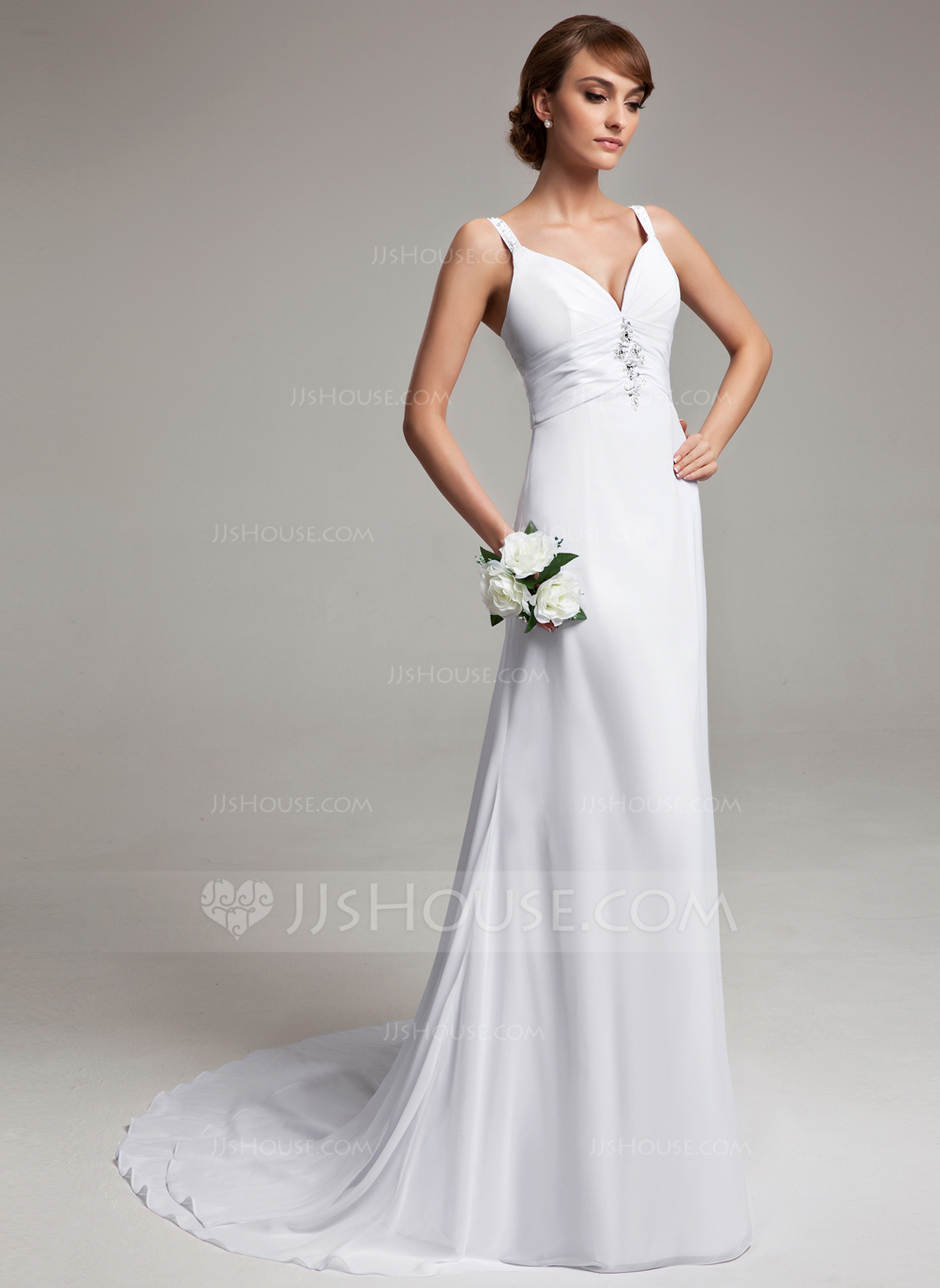 A Line Princess V Neck Court Train Chiffon Wedding Dress With Ruffle Beading g wedding dress chiffon Home Wedding Dresses Loading zoom