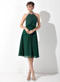 A-Line/Princess Halter Knee-Length Chiffon Bridesmaid ...