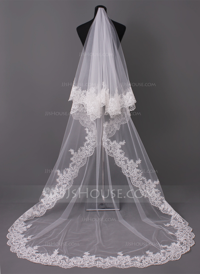 Applique Us 47 00 One Tier Lace Applique Edge Cathedral Bridal Veils With Applique Jj S House
