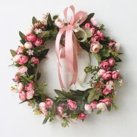Rose Artificial Flowers Mirror Flower Home Wall Garland