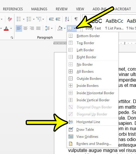 How to Add a Horizontal Line in Word 2013 - Live2Tech