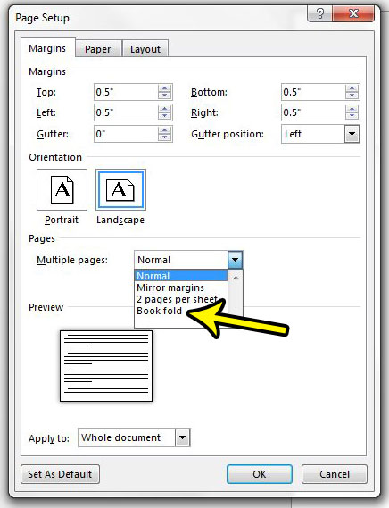 How to Use a Bookfold Page Setup in Word 2013 - Live2Tech