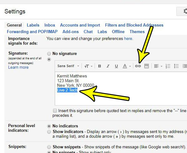 How to Add a Link to a Signature in Gmail - Live2Tech