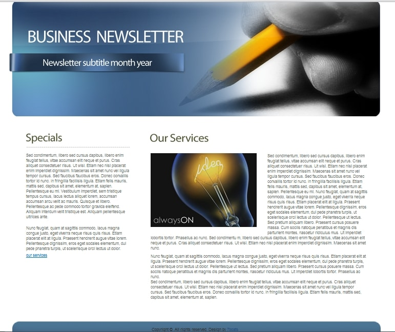 Download Free HTML Business Newsletter Template \u2022 7Boats - company newsletter template free