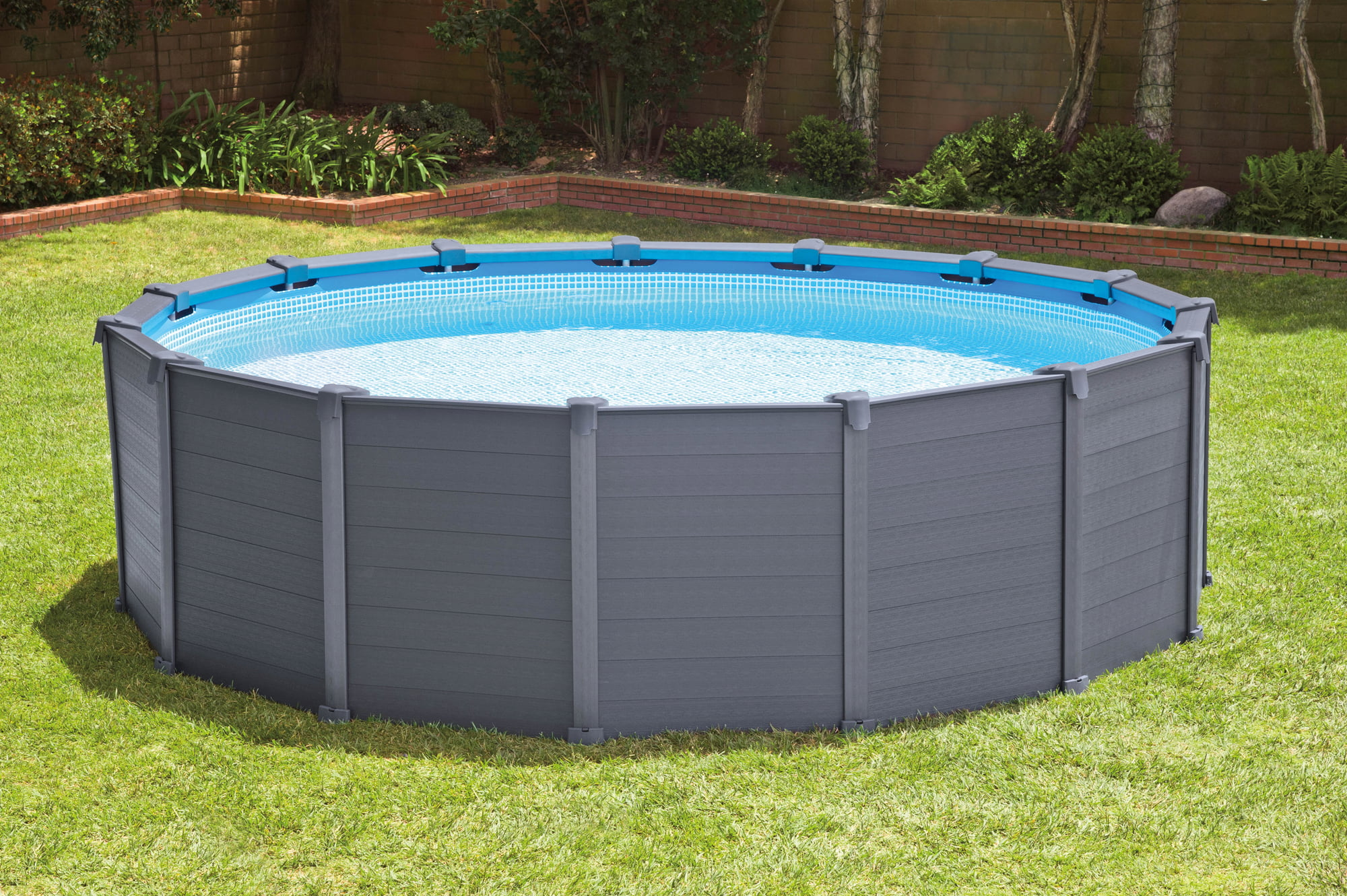 Pool Komplettset Mit Sandfilteranlage Test Intex Frame Pool Graphit Ø 478 X 124 Cm
