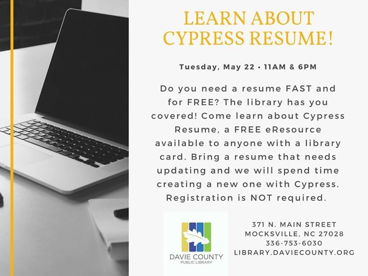 Learn About Cypress Resume! at Davie County Public Library, Mocksville
