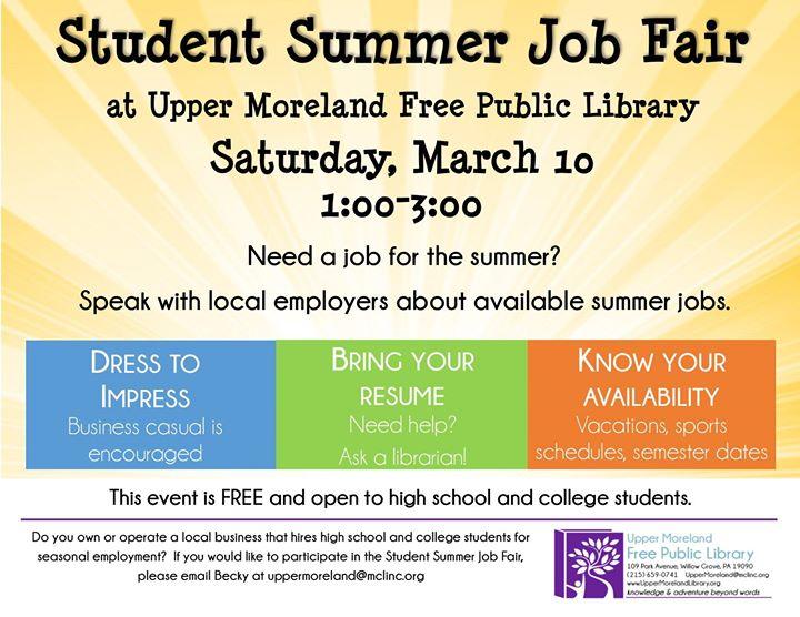 Student Summer Job Fair at Upper Moreland Free Public Library