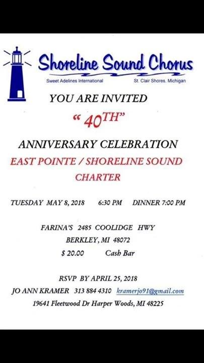 Shoreline Sounds 40th Anniversary Celebration at Farina\u0027s Banquet