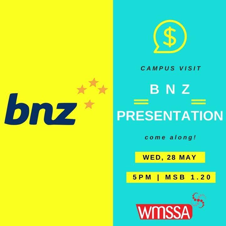 BNZ Graduate and internship recruitment presentation at MSB 120