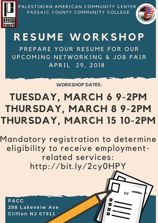Resume Workshop at Palestinian American Community Center,NJ USA - resume workshop