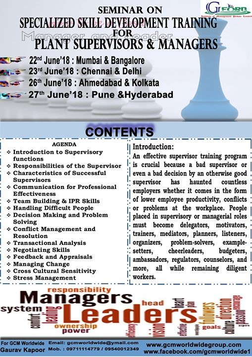 Skill Development Training for Plant Supervisors  Managers at Hyderabad
