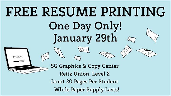 Free Resume Printing at UF J Wayne Reitz Union, Gainesville - resume printing
