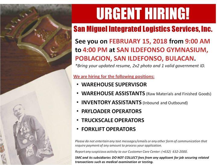 San Miguel Integrated Logistics Services, Inc Job Fair at Mayor CG - 9 sample job fair reports